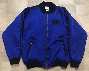 Vintage Adidas Very Rare Bomber Full Zip Jacket Trefoil Sewn Logo Size Mens L