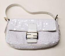 FENDI White Sequin Flap Baguette Handbag Purse