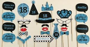 27 Piece Photo Booth Prop Set - Blue 18th Birthday Party - Aust Made