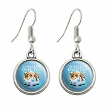 Triple Dog Dare You to Play Me Puppies Soccer Balls Dangling Drop Charm Earrings