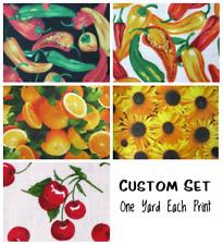 CUSTOM SET 1 YD EA: Chili Pepper/Wht, Pepper/Blk, Sunflower, Oranges, Cherry/Wht