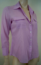 THEORY Ladies Lilac Pink Cotton Stretch Collared 3/4 Sleeve Blouse Shirt Top M