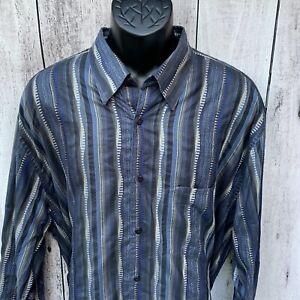 Jhane Barnes Mens 2XLT Geometric Abstract Long Sleeve Button  Up Shirt Austria