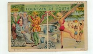 """FL St. Augustine Florida Antique Comic Linen Post Card - """"Before and After"""""""
