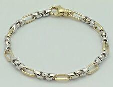 "14k Two Tone Gold Handmade Fashion Link Bracelet 8.5"" 5mm 18.4 grams"