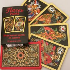 Russian 55 Playing Cards Deck Black Palekh Lacquer Miniatures, Sealed