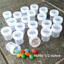 """50 Tiny 1.25"""" hi Clear pp Plastic JARS See Thru Caps 1/2oz 3304 DecoJars USA"""