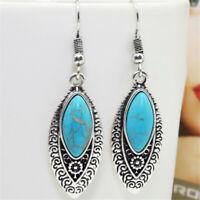 Vintage 925 Silver Turquoise Leaf Earrings Women Ear Hook Dangle Drop Jewelry