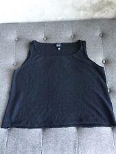 EILEEN FISHER 100% Wool Textured Knit Sleeveless Basic Layering Tank Black  2XL
