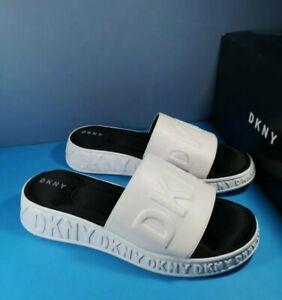 NEW UK 5/6 DKNY MARA WHITE LADIES SLIDERS
