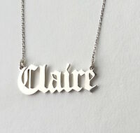 Personalised Old English Font Name Necklace 925 Sterling Silver ,HANDMADE