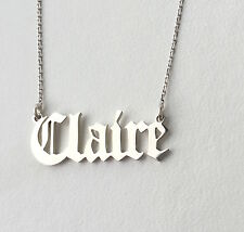 Personalised Old English Font Name Necklace,925 Sterling Silver,Choose any name
