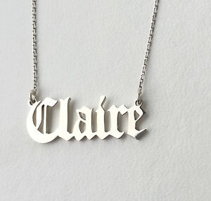 Personalised Old English Font ,Gothic Name Necklace 925 Sterling Silver,HANDMADE