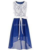 Princess Flower Girl Dress Lace-Paneled Chiffon Wedding Bridesmaid Pageant Party