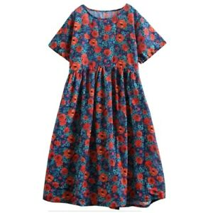 Buykud Floral Print Cotton Linen Loose Oversized Poppies Dress Size M 14-16 New