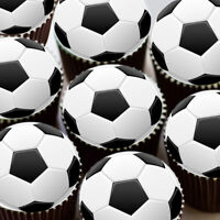 FOOTBALL BALL BLACK AND WHITE SOCCER BALL EDIBLE CUPCAKE TOPPER DECORATION