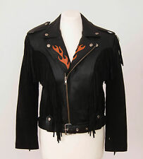 RUNNING BEAR Black Leather Jacket Fringe Fire Ornament Size Boys XXL Women S