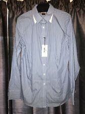 "Thomas Pink Ladies ""Flower"" Blue/ White Stripped Tailored Casual/Office Shirt 14"
