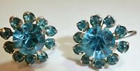 SWEET Vintage 1960's Prong Set Blue Rhinestone Flower Cluster Screw On Earrings