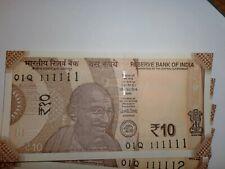 INDIA PAPER MONEY-10 x RS.10/- UNIQUE NOs.-111111-111120- 'MG' SMALL-2018- D-133