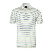 New Dunning Golf Striped Polo Shirt Agate Blue & Yellow Large L NWT