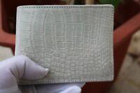 Double Side Handmade Genuine Crocodile Leather Skin Men Bifold Wallet White