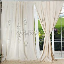 New Tab Top French Country Eyelet Look Cotton Linen Crochet Lace Curtain Panel