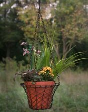 Unique Garden Home Round Hanging Wire Basket with Terracotta Pot - Green/Rust
