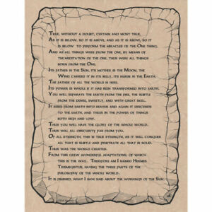 """Emerald Tablet Poster 8.5 x 11"""" Parchment Print NEW Book of Shadows Page"""