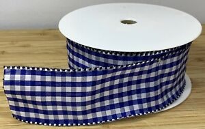 Wide Navy Blue Gingham Ribbon Wired Christmas Hamper Present Cake SOLD PER METER