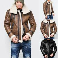 Men Autumn Winter  Highneck Warm Fur Liner Lapel Leather Zipper Outwear Top Coat
