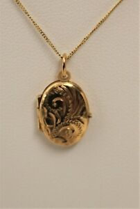 Dainty 9ct Yellow Gold Engraved Locket and Curb Chain   - Thames Hospice