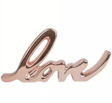 3D Rose Gold LOVE SIGN ORNAMENT WOODEN PLAQUE Decor GIFT Wedding Home Message
