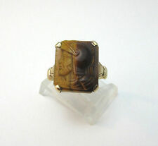 10K YELLOW GOLD TIGERS EYE ROMAN KNIGHT FACE PROFILE ETCHED RING SZ 5 **