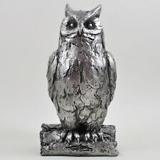Owl Antique Silver Ornament Statue Sculpture H18.5cm Bird Wildlife Gift 41080