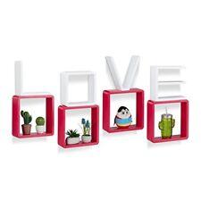 Relaxdays 10021895 juego de baldas pared Love madera MDF Rojo/blanco 8x25x...