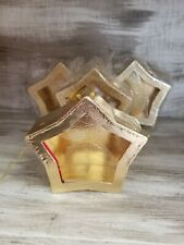 """New Set of 4 Gold Star Ornament Christmas Gift Boxes w/ Window 4.5"""" Across"""