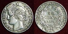 FRANCE 50 centimes 1871K silver