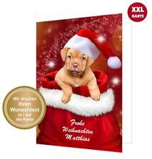 Lustige maxi Weihnachtskarte Hund, TEXT ÄNDERBAR, DIN A4 groß, mit Umschlag XXL