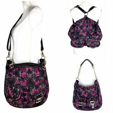Betsey Johnson Backpack Convertible Crossbody Handbag Pink Black Plaid Hearts