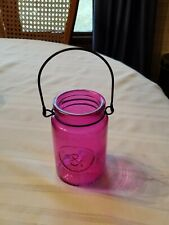 """PINK DECORATIVE 5"""" GLASS JAR WITH HANDLE"""