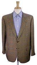 * BRIONI * Handmade in Italy Brown Check 100% Cashmere 2Btn Sportcoat Blazer 44R