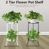 Metal Plant 2 Tier Stand Shelf White/Black Display Balcony Flower Pot Shelf