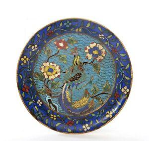 18th Century Chinese Heavy Gilt Cloisonne Enamel Phoenix Bird Scholar Plate Dish