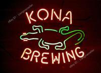 "17""X14"" RARE NEW Kona Brewing Gecko Logo Beer Bar REAL NEON LIGHT SIGN Free Ship"
