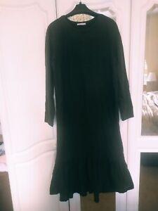 Zara Khaki Long Sleeve Maxi Dress 100% Cotton Size L