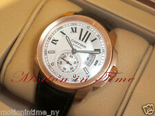 CARTIER CALIBRE 18KT ROSE GOLD ON STRAP SILVER DIAL REF # W7100009 - BEAUTIFUL