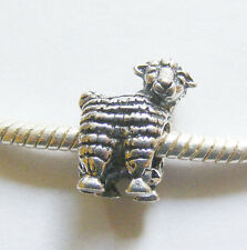 1 Metal Dark Antique Silver Colour Sheep Charm Bead - Fit Charm Bracelet
