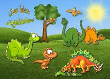 8 Einladungen Dino Dinosaurier Geburtstag Kinder Kindergeburtstag Postkarten