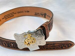 New Justin Rodeo Brown Embossed Leather Kids Belt Size 20